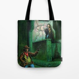 The Gunslinger and the Man Behind the Curtain Tote Bag