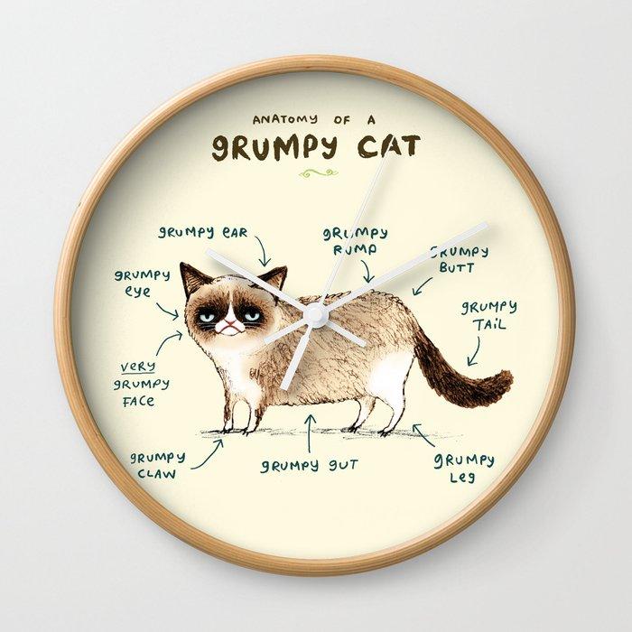 Anatomy Of A Grumpy Kitty Wall Clock By Sophiecorrigan Society6