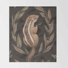 The Chipmunk and Bay Laurel Throw Blanket