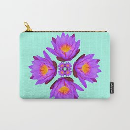 Purple Lily Flower - On Aqua Blue Carry-All Pouch