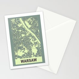 Warsaw, Poland, city map, Mantle grey Stationery Cards