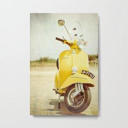 Yellow Scooter #vespaprint #italyphoto #travel #modstyle #yellowmustard Metal Print