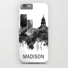 Madison Wisconsin Skyline BW iPhone Case