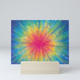 Tie Dye Rainbow Vibrant Saturated Painting Drawing Coloring Mini Art Print