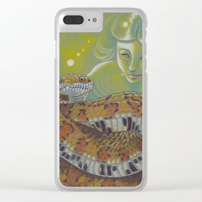 Serpent Goddess, Fantasy Snake Art Clear iPhone Case