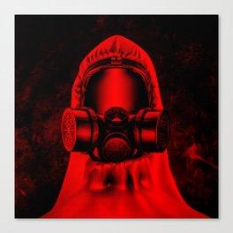 Toxic environment RED / Halftone hazmat dude Canvas Print