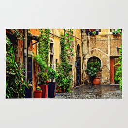 Vintage street in Rome, after Rain Rug