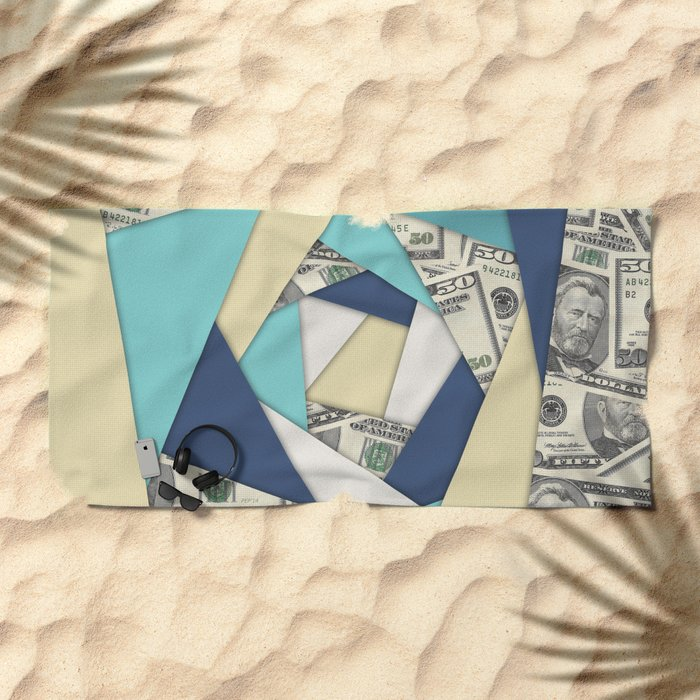 Colorful Currency Collage Beach Towel