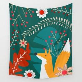 Cute fox in a greenery Wall Tapestry