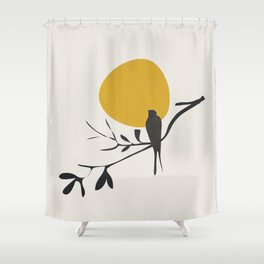 Bird and the Setting Sun Shower Curtain