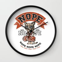 nope Wall Clocks featuring NOPE by Peter Kramar