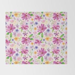 Whimsical Girly Flower Pattern Throw Blanket