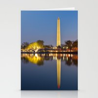 washington dc Stationery Cards featuring Washington DC Dawn Monument by Nicolas Raymond