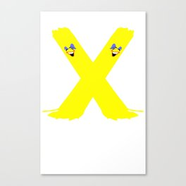 Stripe Bomb Yellow X Canvas Print