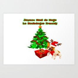 Joyeux Noel de Hugo le Bouledogue Francais Art Print