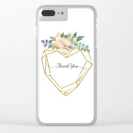 Graphic Heart and Flowers Clear iPhone Case
