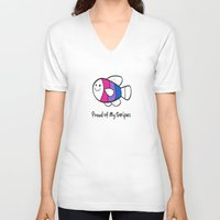 bisexual V-neck T-shirts featuring Bisexual Pride (Proud of My Stripes) by Kylie Summer Wu