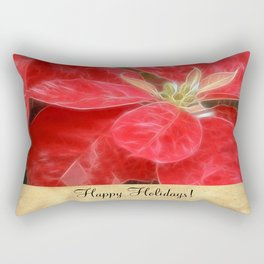 Mottled Red Poinsettia 1 Ephemeral Happy Holidays S2F1 Rectangular Pillow