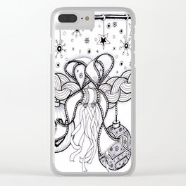 Christmas Zentangle Swag in Black and White for Adult Colorists Clear iPhone Case