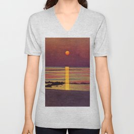 Sunset at the Beach landscape painting by Félix Vallotton Unisex V-Neck