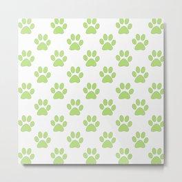 Cute green paw prints Metal Print
