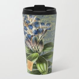 Vintage Ephemera and Floral Collage - Collage Art - Vintage Botanical Art Metal Travel Mug