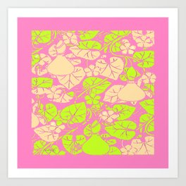 Delicate Pink Garden Art Lime Color Vines-leaves pattern Art Print