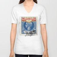 cuba V-neck T-shirts featuring VINTAGE CUBA by RIGOLEONART