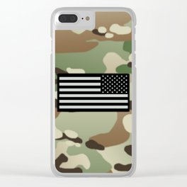 Woodland Camouflage & Black Flag Clear iPhone Case