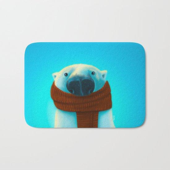 Polar bear with scarf Bath Mat