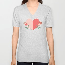Hearts and Roses Unisex V-Neck