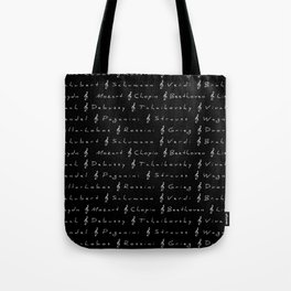 Classical Music Composers, pattern, black bg Tote Bag