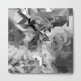 Black / White and Gray Scale Geometric Geometry Shape Pattern Metal Print
