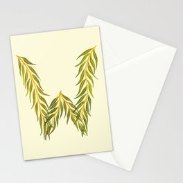 Leafy Letter W Stationery Cards