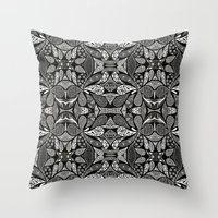 henna Throw Pillows featuring Henna Droplets  by Kim Mihiel