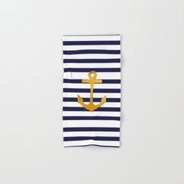 Marine pattern- blue white striped with golden anchor Hand & Bath Towel