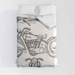 Henderson Motorcycle Prototype Streamliner Main Spec Pre-Patent Drawing Comforters