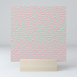Modern Abstract Mint Blue Rosewater Pink Stripes Mini Art Print