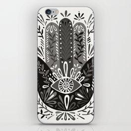 Hamsa Hand – Black & Grey Palette iPhone Skin