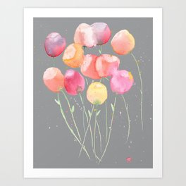 Loose Flowers with ultimate gray background. Art Print