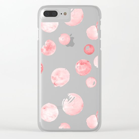 Wewak Pink Watercolors Polka Dots Clear iPhone Case