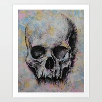 medieval Art Prints featuring Medieval Skull by Michael Creese