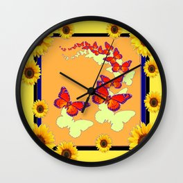 Monarch Butterflies Sunflowers Cumin Color & Yellow Art Wall Clock