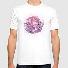 Purple rose White MEDIUM Mens Fitted Tee