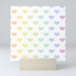 Pastel Rainbow Hearts Mini Art Print