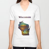 wisconsin V-neck T-shirts featuring Wisconsin Map by Roger Wedegis