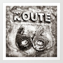 Route 66 Weathered Road Sign - Sepia Art Print