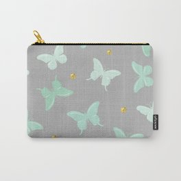 Girly cute gold polka dots grey light blue mint green butterfly pattern Carry-All Pouch