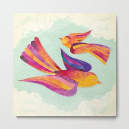 Shanti Sparrow: Daisy and Dawn the Sparrows Metal Print