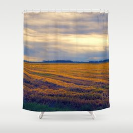 cultivated field in autumn season Shower Curtain